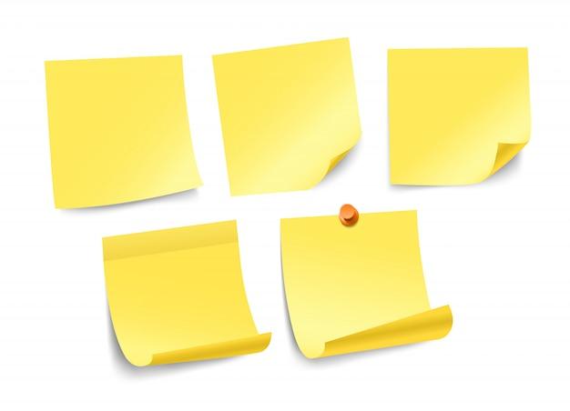 Collection d'autocollants de papier de couleur différente isolée sur blanc. modèle pour un texte Vecteur Premium