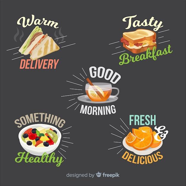 Collection d'autocollants de petit déjeuner dessinés à la main Vecteur gratuit