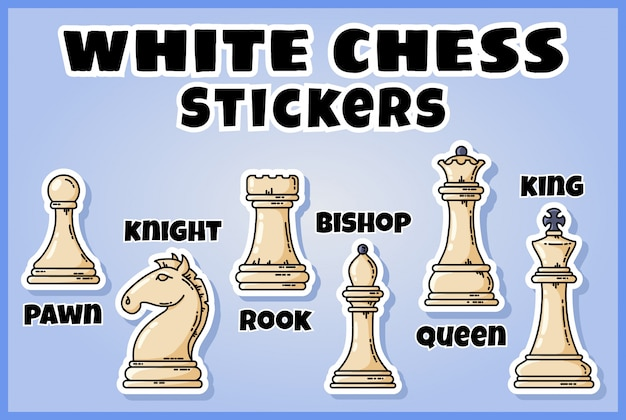 Collection d'autocollants de pièces d'échecs blanches. lot d'étiquettes d'échecs Vecteur Premium
