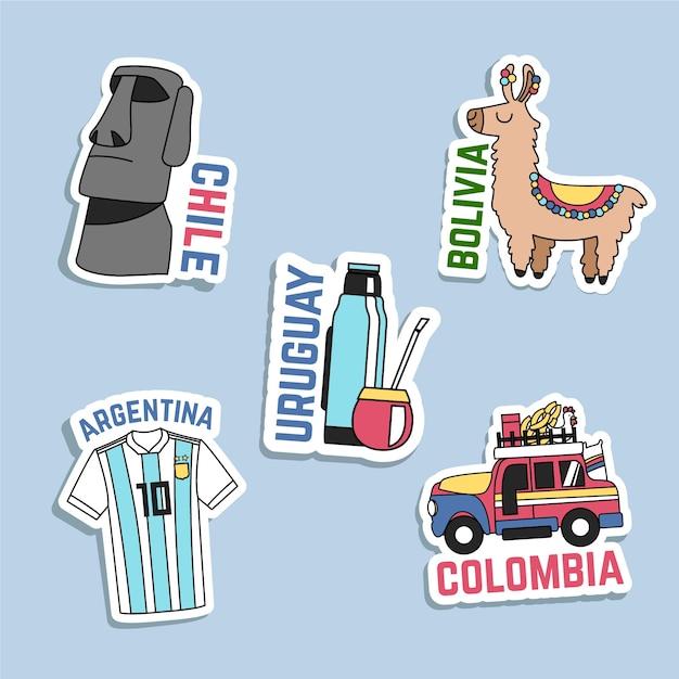 Collection d'autocollants de voyage dessinés à la main Vecteur gratuit