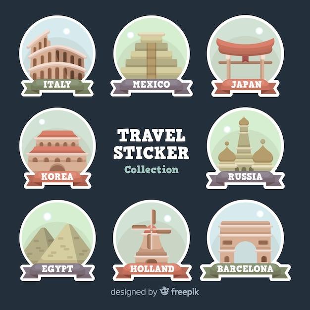 Collection d'autocollants de voyage plats Vecteur gratuit