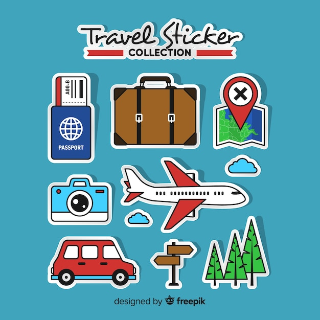 Collection d'autocollants de voyage Vecteur gratuit