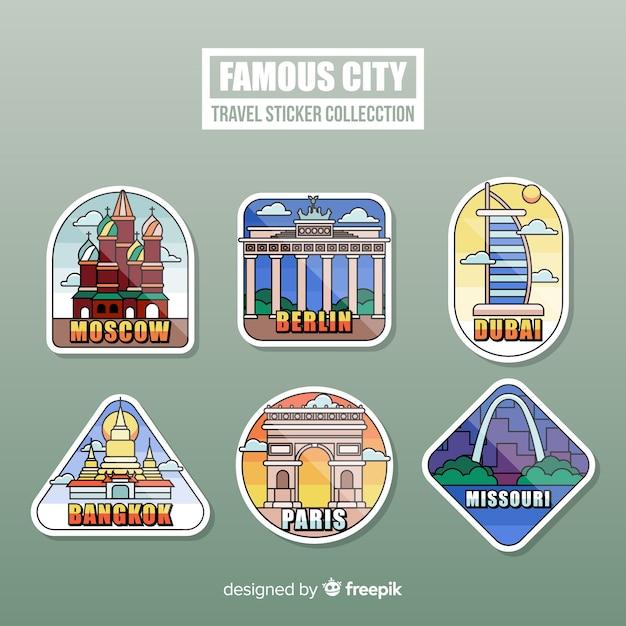Collection d'autocollants de voyage Vecteur gratuit