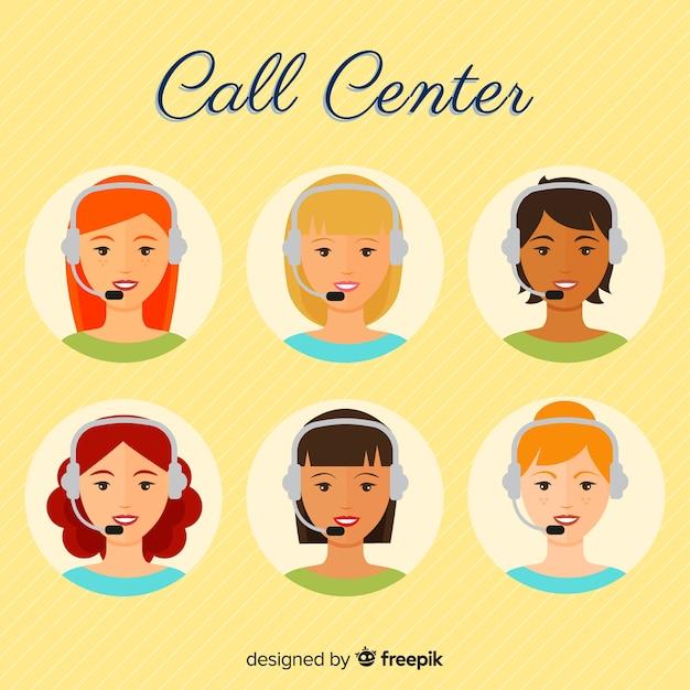 Collection d'avatar d'agent de centre d'appel avec design plat Vecteur gratuit