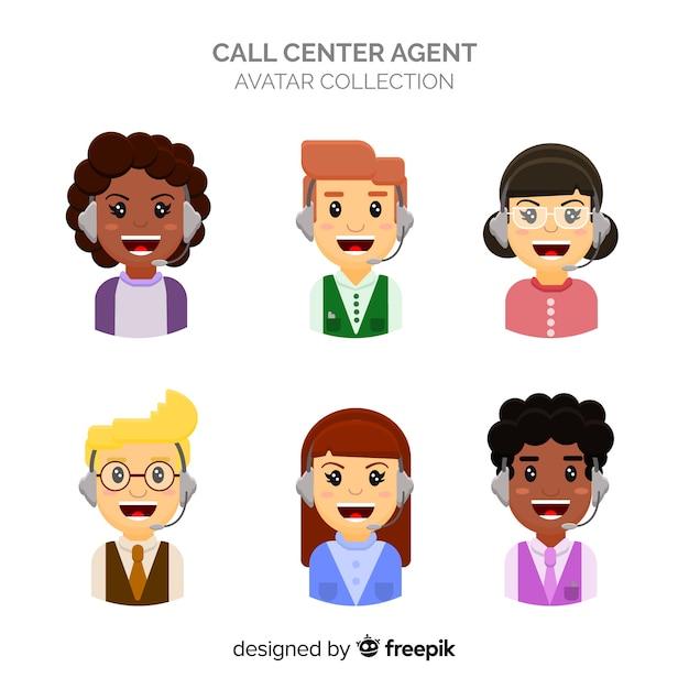 Collection d'avatar du centre d'appels Vecteur gratuit