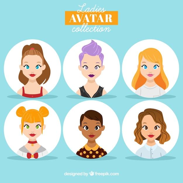 Collection d'avatar féminin Vecteur gratuit