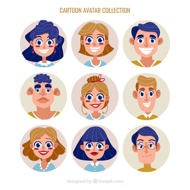 Collection d'avatar mignonne Vecteur gratuit