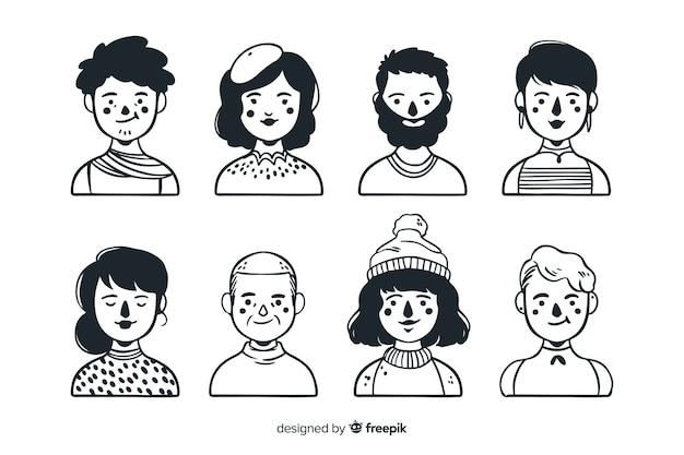 Collection D'avatar De Personnes Dessinées à La Main Vecteur gratuit