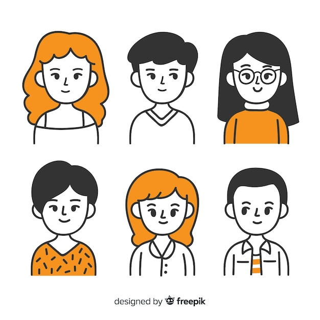 Collection d'avatar de personnes dessinées à la main Vecteur gratuit