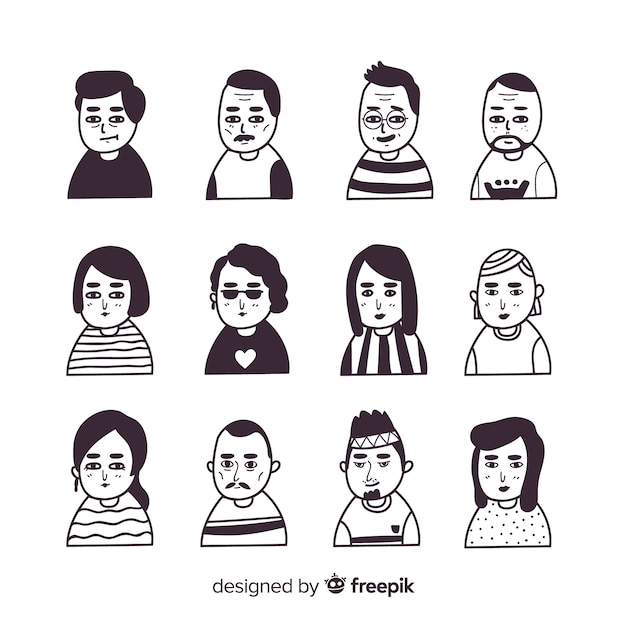 Collection d'avatar de personnes Vecteur gratuit