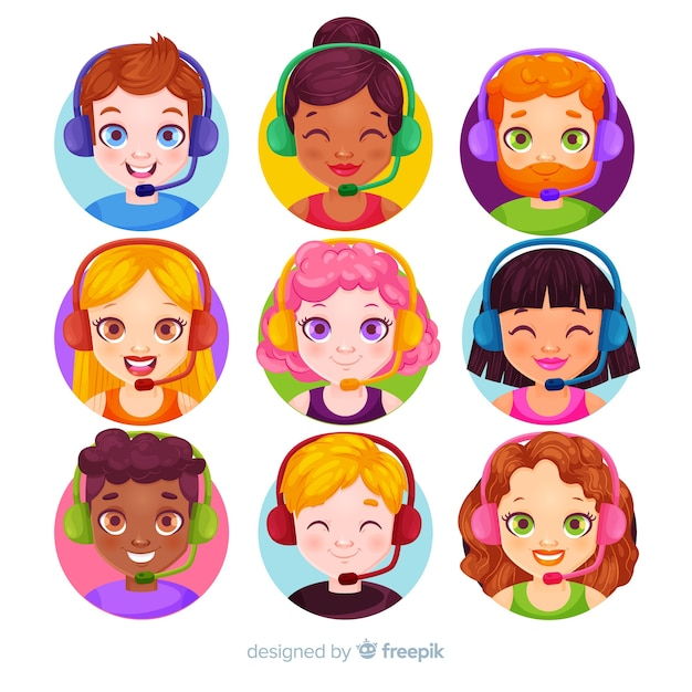 Collection d'avatars de centre d'appels au design plat Vecteur gratuit