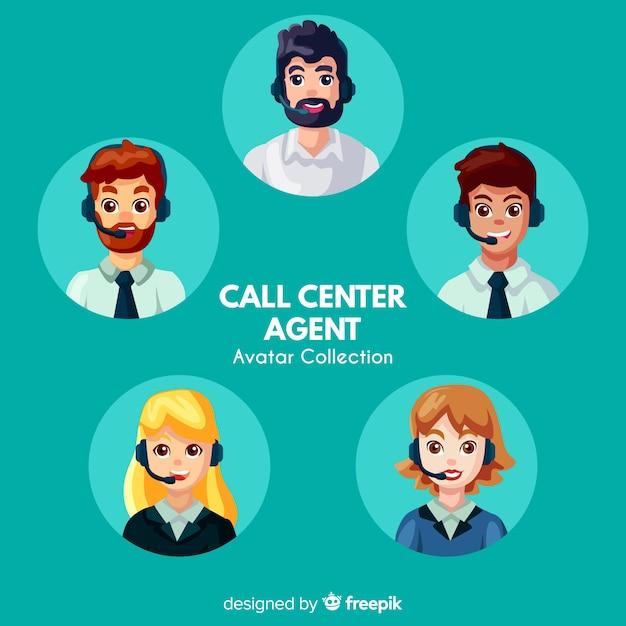 Collection d'avatars de centre d'appels Vecteur gratuit