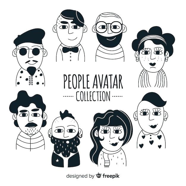 Collection d'avatars dessinés à la main Vecteur gratuit