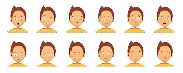 Collection d'avatars avec des émotions d'enfant Vecteur Premium
