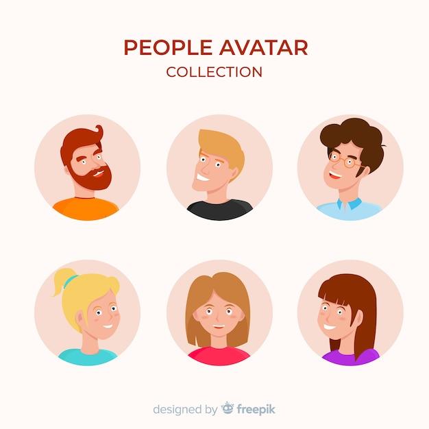 Collection d'avatars plats colorés Vecteur gratuit
