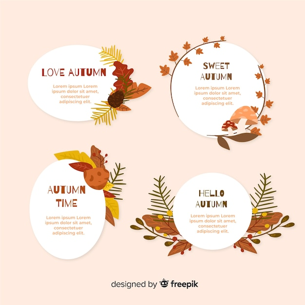 Collection de badge automne dessinés à la main Vecteur gratuit