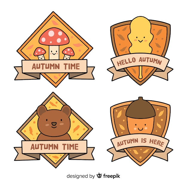 Collection de badge automne dessinés à la main Vecteur gratuit