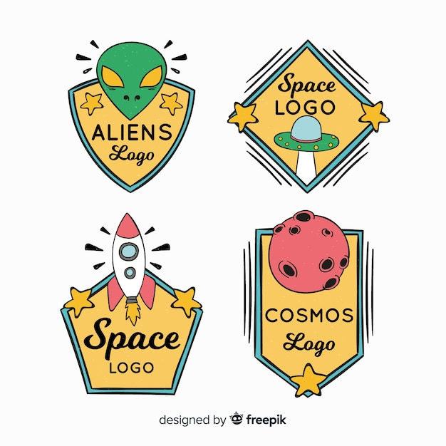 Collection de badge espace dessiné main coloré Vecteur gratuit
