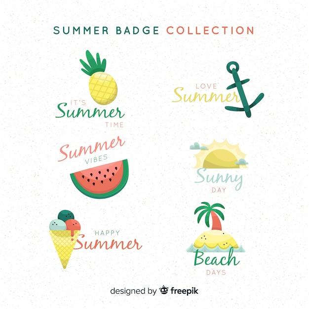 Collection de badge été dessiné à la main Vecteur gratuit