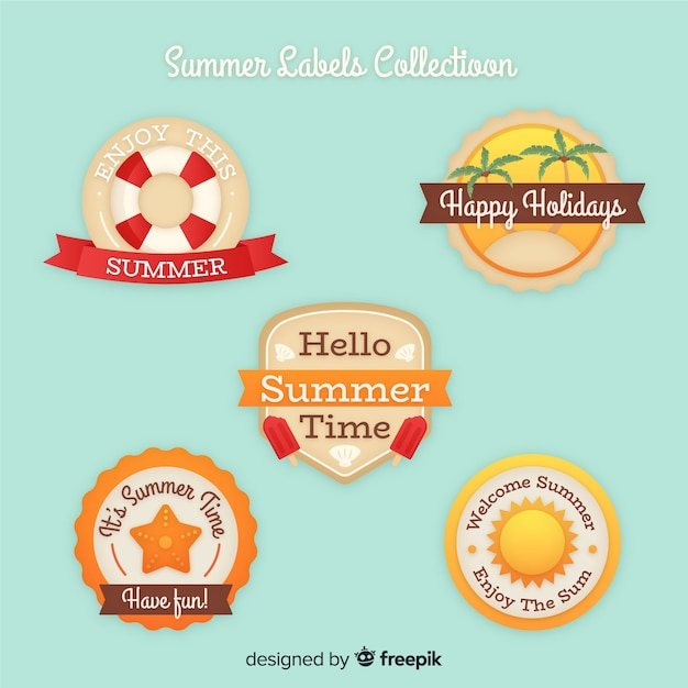 Collection de badge été vintage Vecteur gratuit