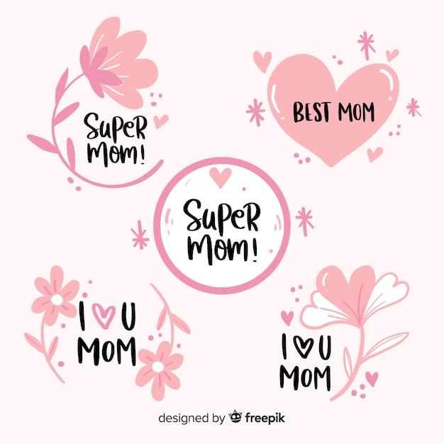 Collection de badge fête des mères dessinée à la main Vecteur gratuit