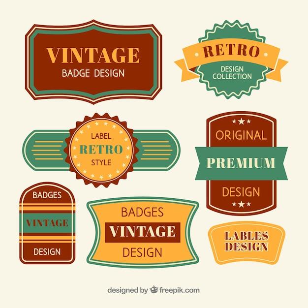 Collection de badge vintage avec un design plat Vecteur gratuit