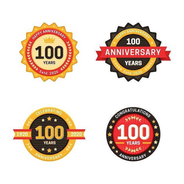 Collection De Badges 100 Anniversaire Vecteur gratuit