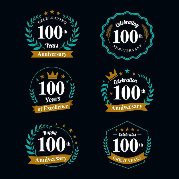 Collection De Badges 100e Anniversaire Vecteur Premium