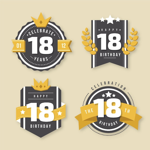 Collection De Badges 18e Anniversaire Vecteur Premium