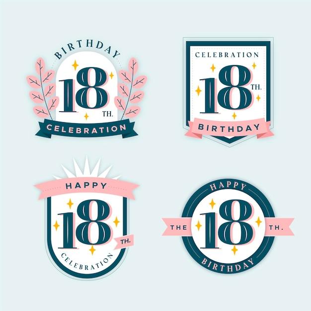 Collection De Badges 18e Anniversaire Vecteur Premium