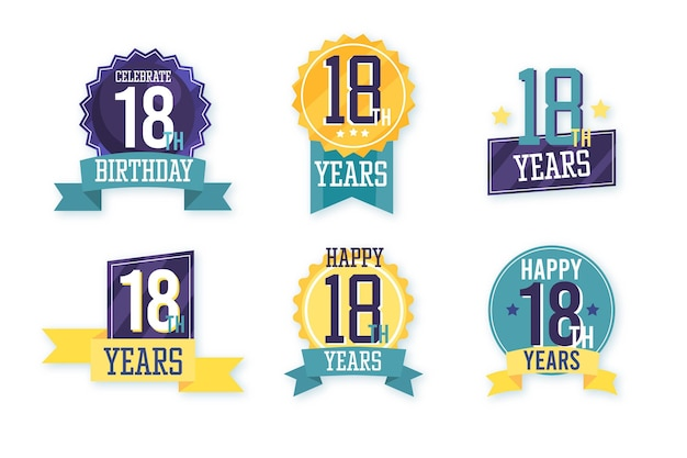 Collection De Badges 18e Anniversaire Vecteur gratuit