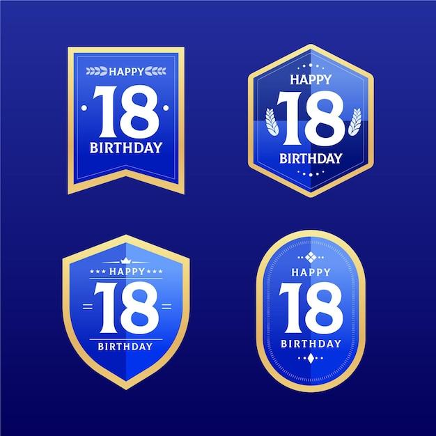 Collection De Badges 18e Anniversaire Vecteur gratuit
