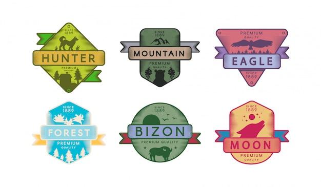 Collection Badges Animaux Et Nature Set Logo Vecteur Premium