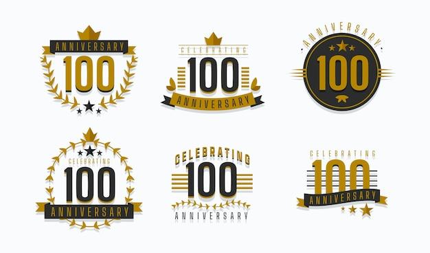 Collection De Badges D'anniversaire De Cent Ans Vecteur gratuit