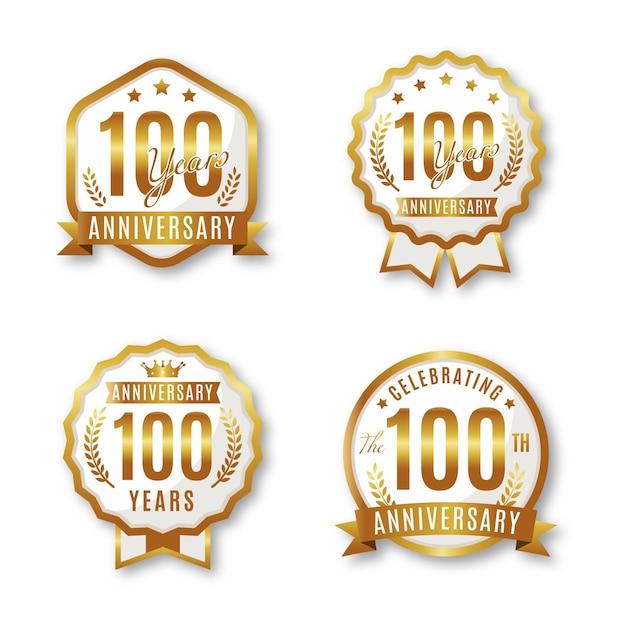 Collection De Badges Anniversaire One Houndred Vecteur Premium