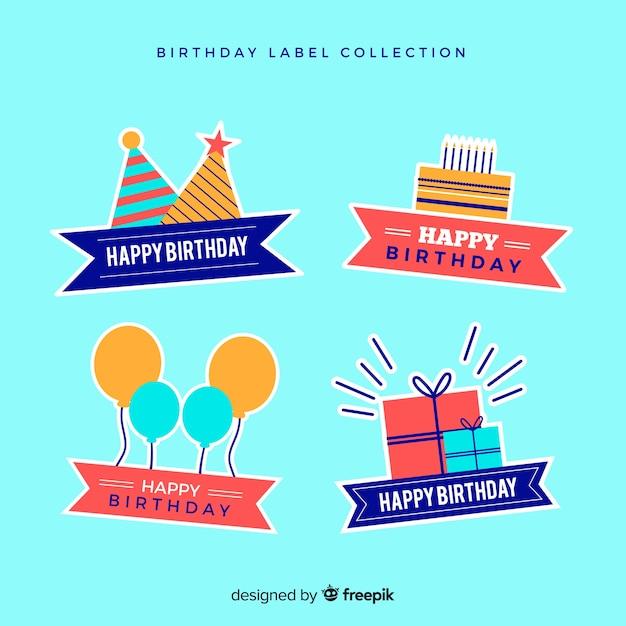 Collection de badges d'anniversaire Vecteur gratuit
