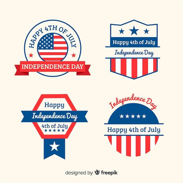 Collection de badges appartement 4ème de juillet Vecteur gratuit