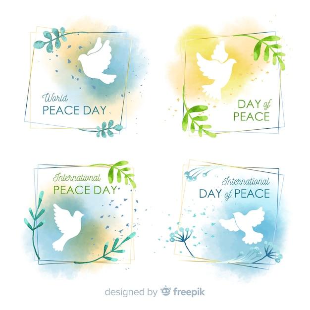 Collection de badges aquarelle de la journée de la paix Vecteur gratuit