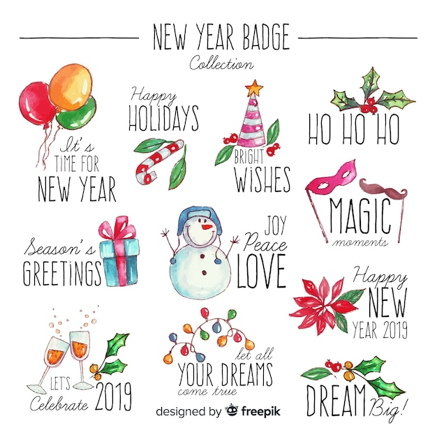 Collection de badges aquarelle nouvel an Vecteur gratuit