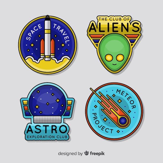 Collection de badges astronomiques Vecteur gratuit