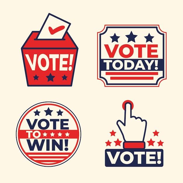 Collection De Badges Et Autocollants De Vote Vecteur Premium