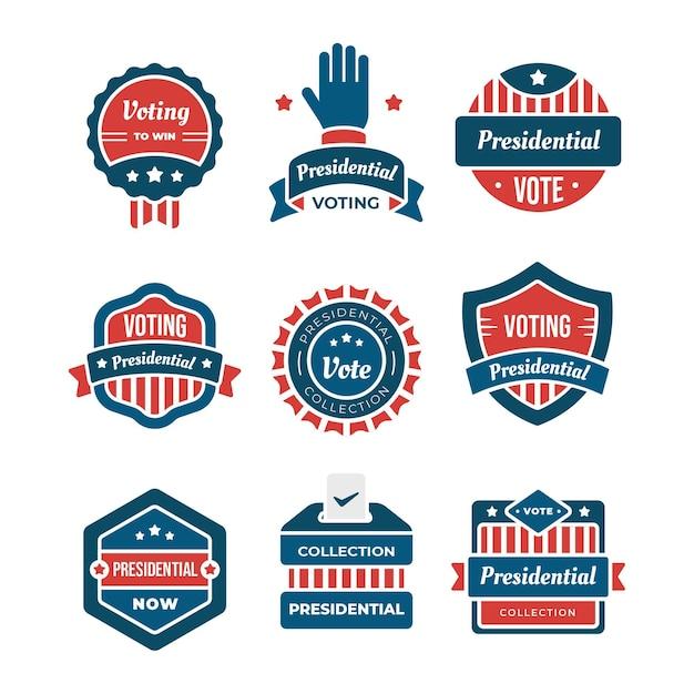 Collection De Badges Et Autocollants De Vote Vecteur gratuit