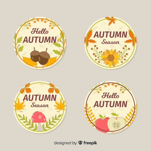 Collection de badges automne design plat Vecteur gratuit