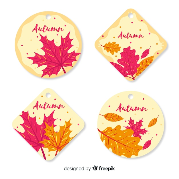 Collection de badges automne design plat Vecteur gratuit