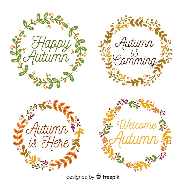 Collection de badges automne style aquarelle Vecteur gratuit