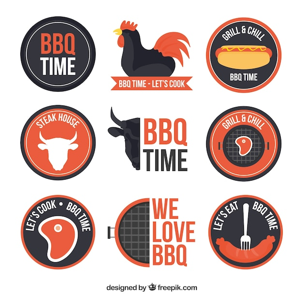 Collection de badges de bbq au design plat Vecteur gratuit
