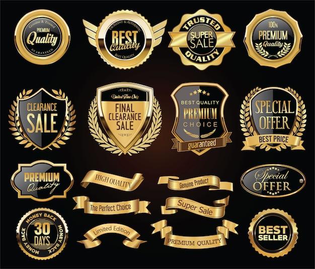 Collection De Badges Et De Boucliers D'étiquettes De Badges Dorés Vintage Rétro Vecteur Premium