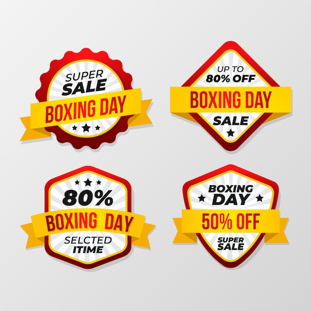 Collection De Badges Design Plat Boxing Day Sale Vecteur gratuit