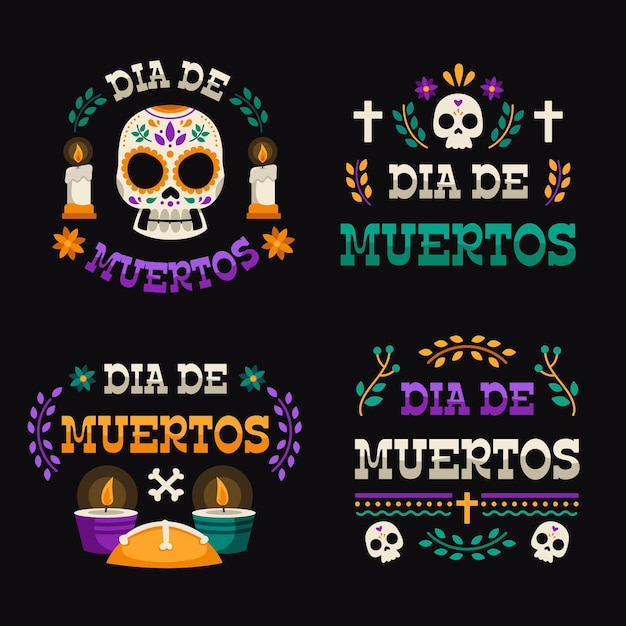 Collection De Badges Design Plat Dia De Muertos Vecteur gratuit