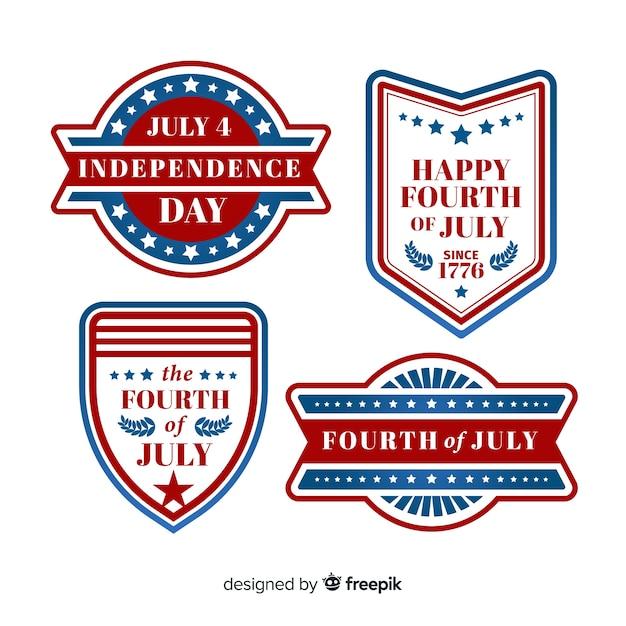 Collection de badges du 4 juillet Vecteur gratuit